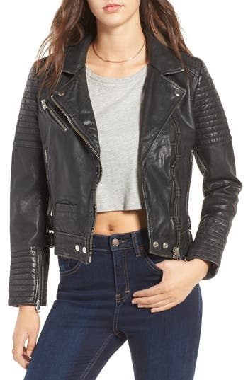 Topshop Elton Quilted Leather Jacket