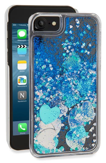Skinny Dip Blue Glitter Heart iPhone 7 Case