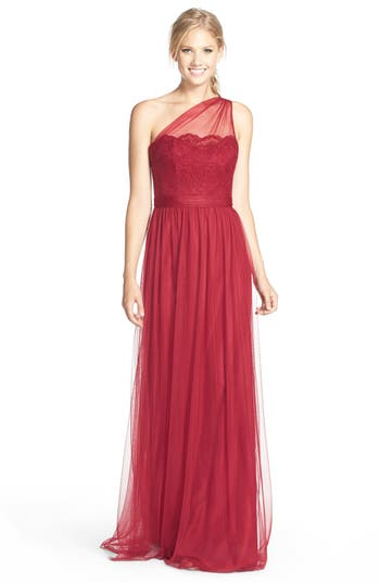 Amsale One-Shoulder Lace & Tulle Gown