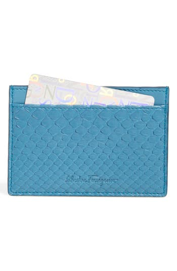 Salvatore Ferragamo 'Lauro' Genuine Python Leather Card Case