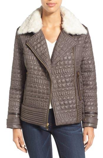 Via Spiga Detachable Faux Fur Collar Quilted Moto Jacket
