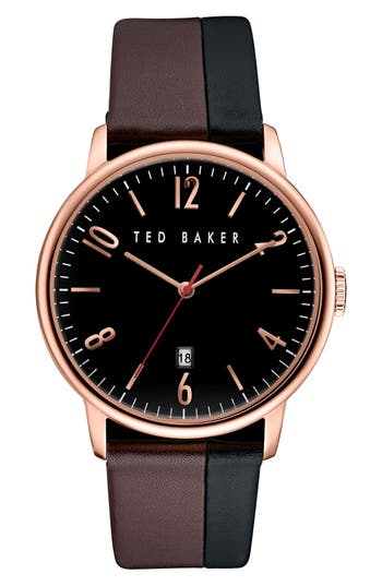Ted Baker London 'Modern Vintage' Leather Strap Watch, 42mm