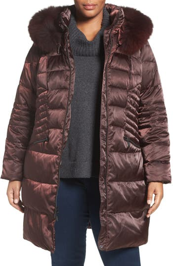 1 Madison Down & Feather Fill Coat with Genuine Fox Fur Trim (Plus Size)