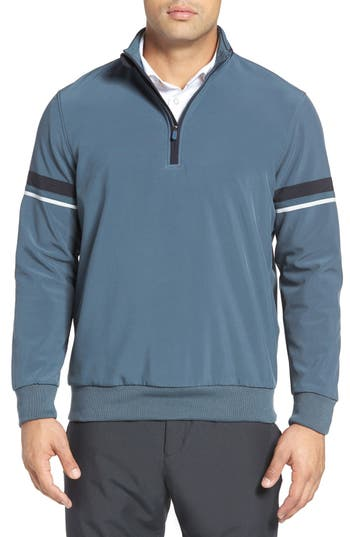 Bobby Jones Stripe Sleeve Quarter Zip Golf Pullover