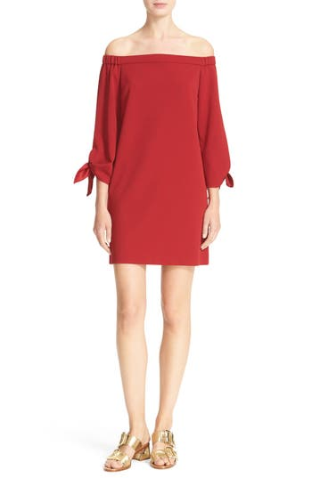 Tibi Off the Shoulder Tie Sleeve Shift Dress