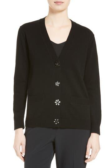 kate spade new york embellished button wool blend cardigan