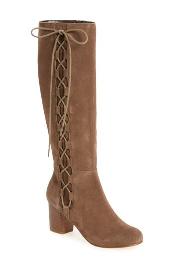 Sole Society Arabella Knee High Lace-Up Boot (Women)