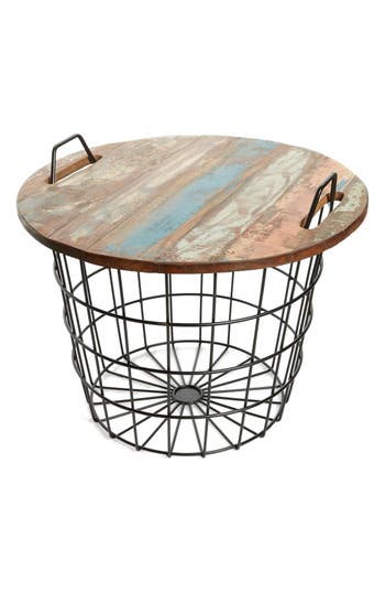 Foreside Basket & Recycled Wood Storage Table