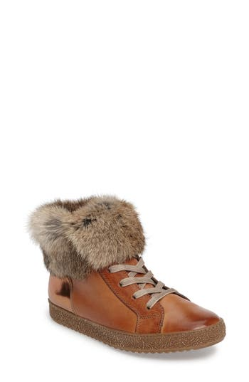Paul Green Malika High Top Sneaker with Genuine Rabbit Fur (Women)