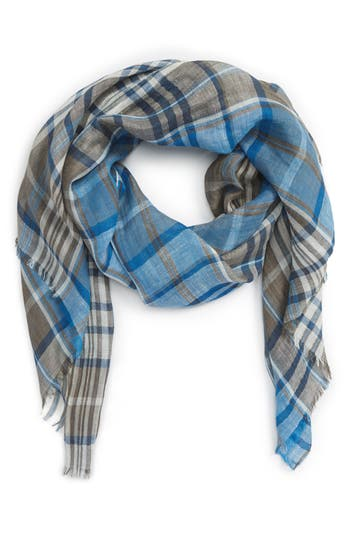 Salvatore Ferragamo Plaid Linen & Silk Scarf