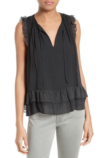 Joie Cici Polka Dot Silk Top