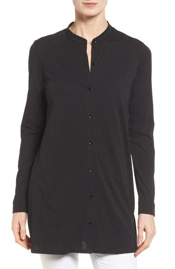 Eileen Fisher Organic Cotton Jersey Mandarin Collar Tunic (Regular & Petite)
