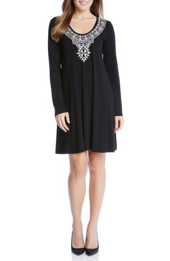 Karen Kane Taylor Embroidered Jersey Dress