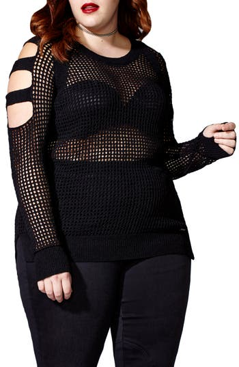 mblm by Tess Holliday Open Stitch Sweater (Plus Size)