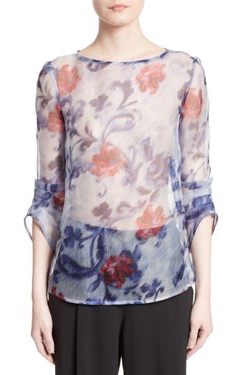 Armani Collezioni Floral Print Silk Organza Tunic