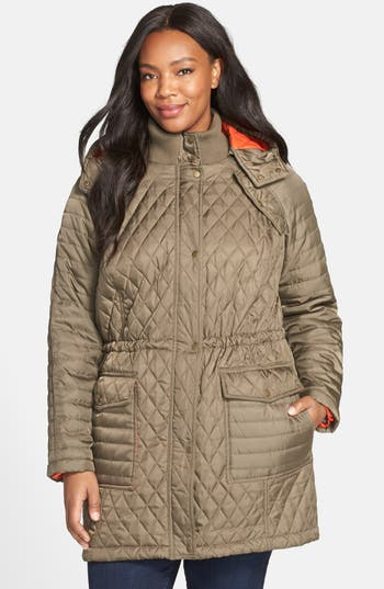 Vince Camuto Quilted Jacket with Detachable Contrast Lined Hood (Plus Size)
