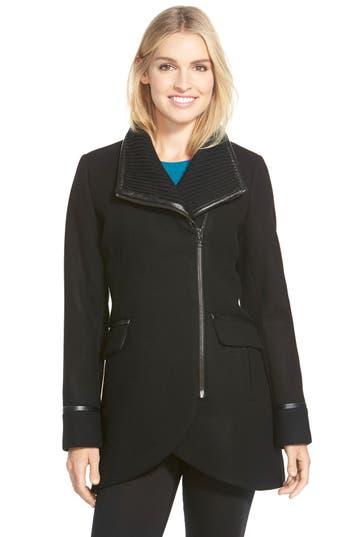 Trina Turk 'Mackenzie' Asymmetric Zip Leather Trim Coat (Regular & Petite)