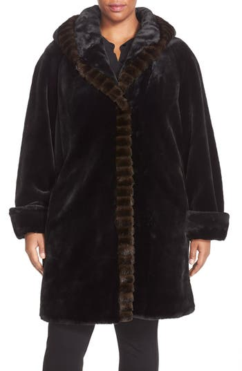 Gallery Hooded Faux Fur Walking Coat (Plus Size)
