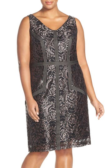 Brianna Embroidered Double V-Neck Lace Sheath Dress (Plus Size)