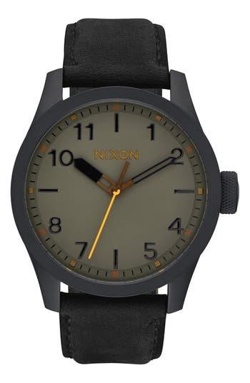 Nixon 'Safari' Leather Strap Watch, 43mm