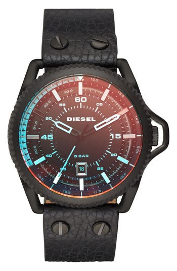DIESEL® Rollcage Leather Strap Watch, 46mm