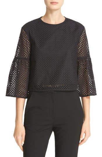 Tibi Bell Sleeve Cotton Eyelet Crop Top