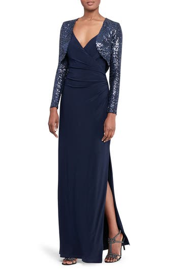 Lauren Ralph Lauren Ruched Faux Wrap Gown with Sequin Bolero