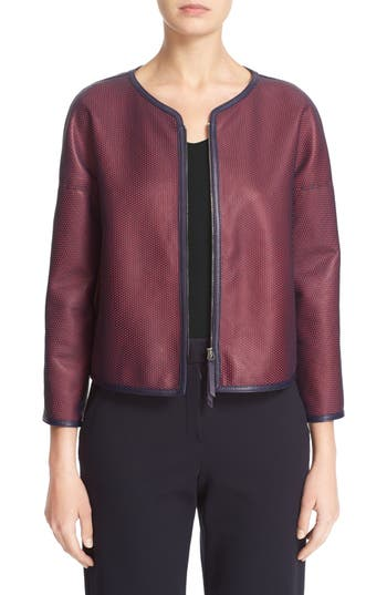 Armani Collezioni Perforated Leather Overlay Jacket