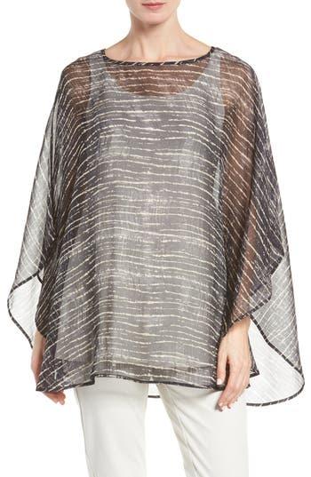 Eileen Fisher Streaky Plaid Crinkled Silk Poncho