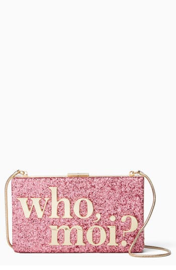 kate spade new york who moi? glitter clutch