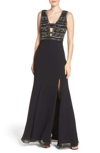 Adrianna Papell Beaded Georgette Gown