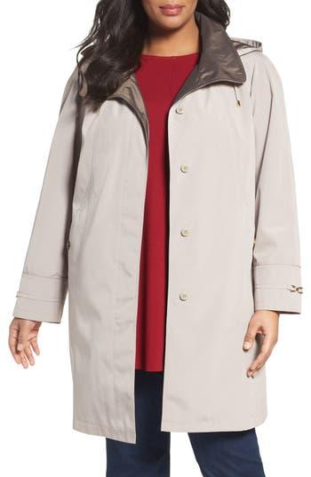 Gallery Embossed Collar Raincoat with Detachable Hood (Plus Size)