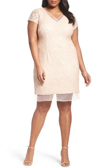 Adrianna Papell Sequin Lace Sheath Dress (Plus Size)