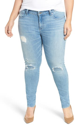 Lucky Brand Ginger Distressed Stretch Skinny Jeans (Ideal) (Plus Size)
