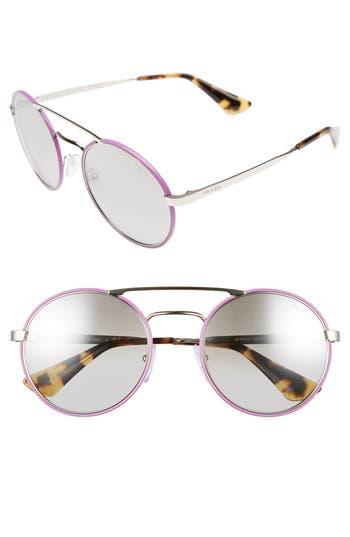 Prada 51mm Mirrored Round Sunglasses