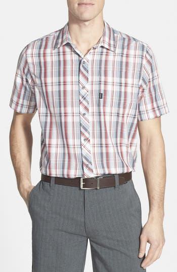 Travis Mathew 'Haskell' Slim Fit Short Sleeve Plaid Sport Shirt