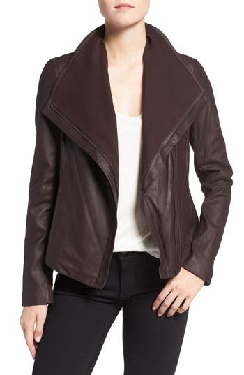 Tahari Andreas Knit Trim Collar Leather Jacket