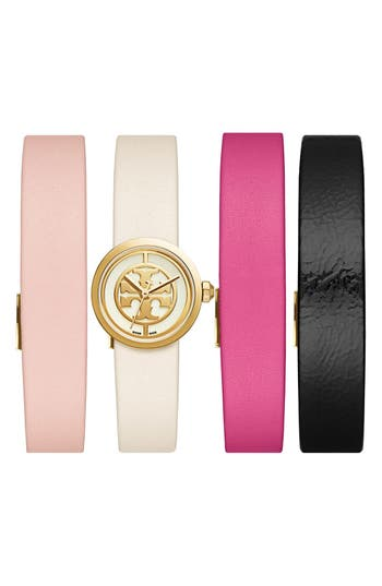 Tory Burch 'Reva' Leather Strap Watch Set, 20mm