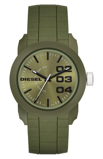 DIESEL® Double Down Silicone Strap Watch, 44mm