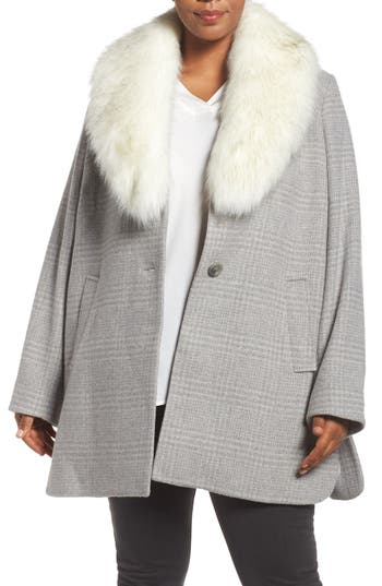 Tahari Olivia Plaid Coat with Removable Faux Fur Collar (Plus Size)