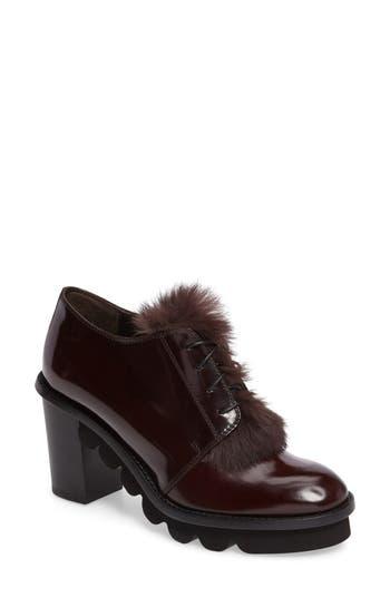 AGL Rolo Block Heel Genuine Rabbit Fur Trim Oxford (Women)