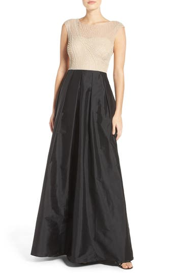 Adrianna Papell Beaded Illusion Bodice Gown with Taffeta Skirt