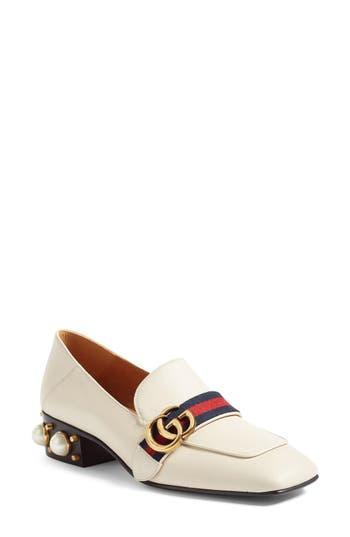 Women's Gucci Peyton Embellished Heel Loafer, Size 10.5US / 40.5EU - White