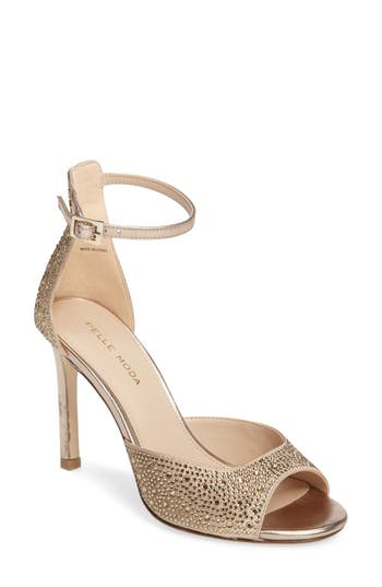 Pelle Moda Crystal Embellished Ankle Strap Sandal, Metallic