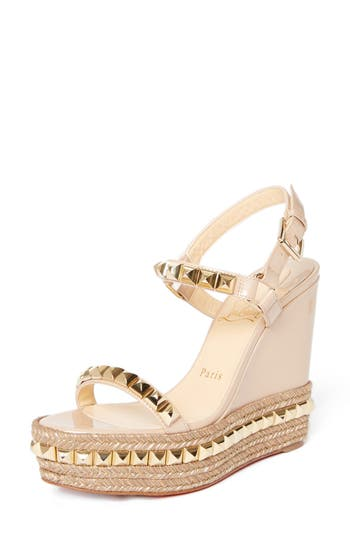 Cataclou Espadrille Wedge Sandal in Nude/ Gold