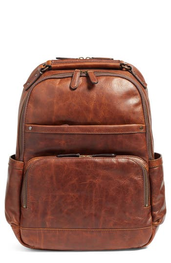 FRYE 'Logan' Leather Backpack - Brown in Cognac