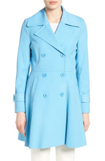 Retro Vintage Style Coats, Jackets, Fur Stoles Womens Trina Turk Rosemarie Skirted Trench Coat Size 8 - Blue $319.90 AT vintagedancer.com