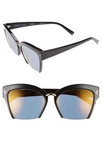 Women's Kendall + Kylie Brooke 55Mm Semi Rimless Butterfly Sunglasses - Shiny Black/ Shiny Gold