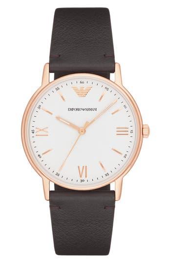 EMPORIO ARMANI Men'S Brown Leather Strap Watch 43Mm Ar11011 in Black