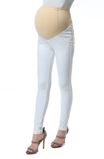 Kimi And Kai Sadie Over The Belly Maternity Denim Leggings, White